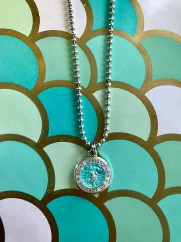 Necklace chain St. Christopher pendant SMALL Turquoise/ White outside