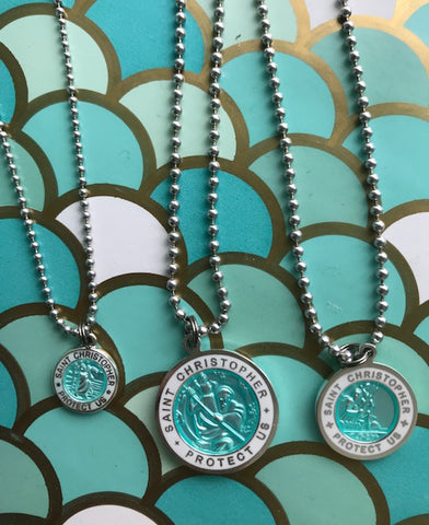 Necklace chain St. Christopher pendant LARGE Turquoise/ White outside