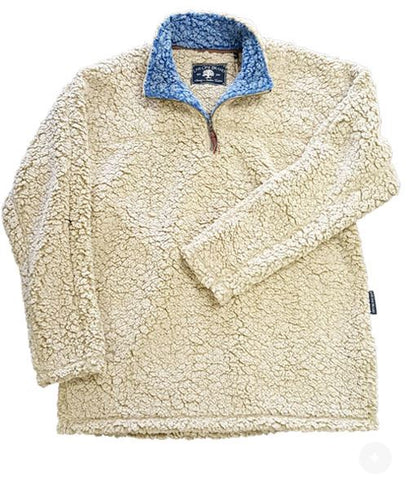 Sherpa Pullovers Oatmeal with Blue Collar