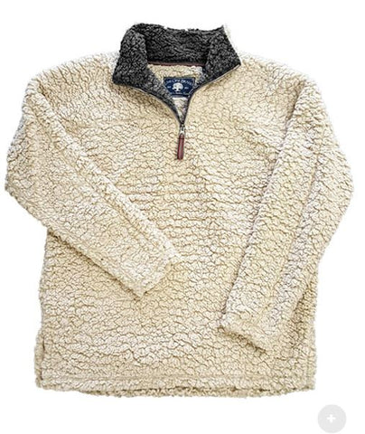 Sherpa Pullovers Oatmeal with Gray Collar