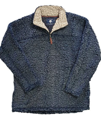 Sherpa Fleece Pullover Navy with Oatmeal Neck