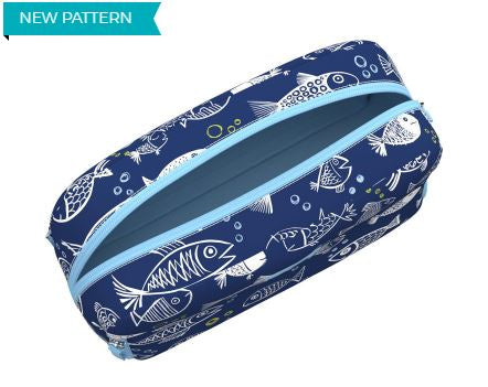 3 Way cosmetic bag one fish blue fish