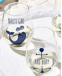 Stemless wine glass set Nauti Girl & Bad Buoy