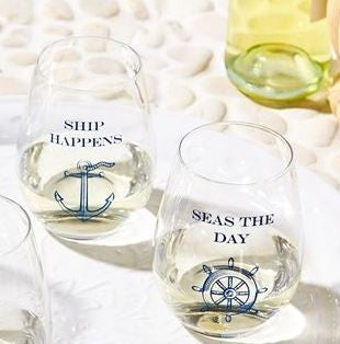 Stemless wine glass set Ship Happens & Seas The Day