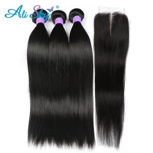 Peruvian Straight Human Hair 3 Bundles with 1pc Lace Closure