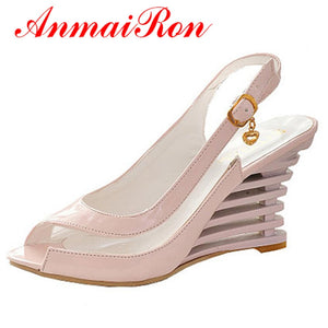 ANMAIRON Wedge Heel Sandals Buckle Style Open Toe Shoes transparent Women Summer Shoes Patent PU Sexy Summer Brand Shoes Woman