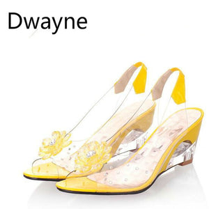 Dwayne 2018 wedges sandals women summer sweet flowers transparent high-heeled slippers fish mouth sandals size 33-43