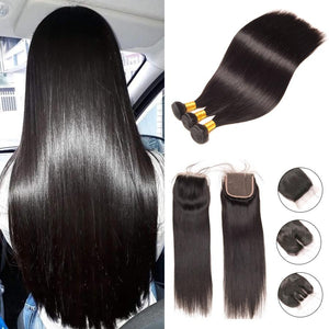 3 pcs Straight Hair Bundles With Closure Human Hair
