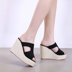 2019 Flocking Platform Shoes Women Sandals Wedge Slippers for Women High Heels Wedges Shoes Slides Open Toe Casual Straw shoes