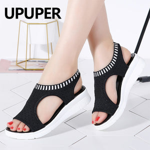 UPUPER Fashion Women Sandals Breathable Comfort Ladies Summer Shoes Platform Wedges Black Slip-on Sandals Shoes Big Size 35-43