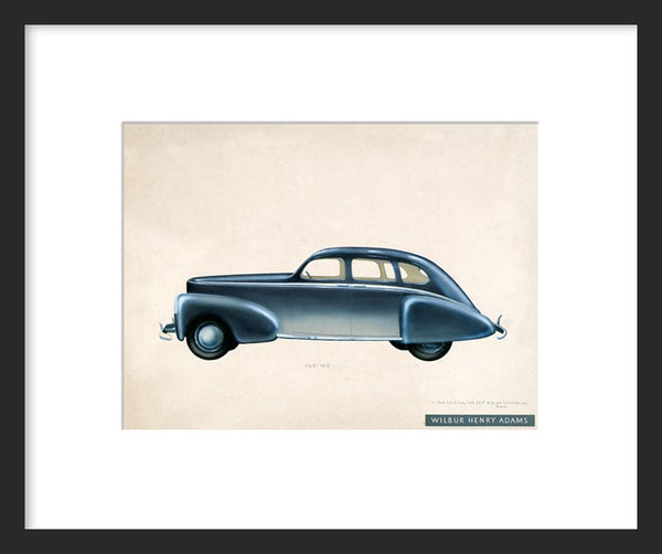 Industrial design drawing of a blue car framed