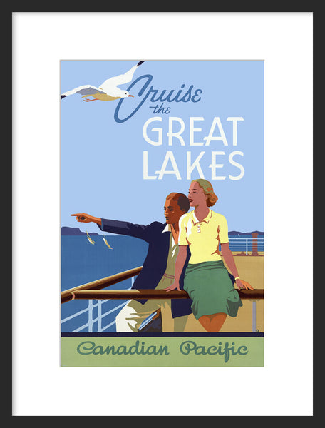 Cruise the Great Lakes framed poster.