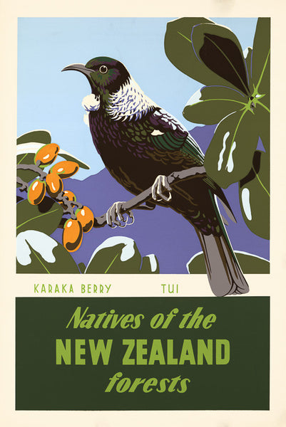 Karaka Berry and Tui Vintage Travel Poster