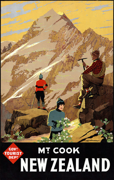 Mt. Cook New Zealand Vintage Travel Poster
