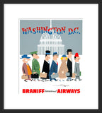 Braniff International Airways to Washington, D.C. framed poster
