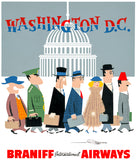 Braniff International Airways to Washington, D.C. poster