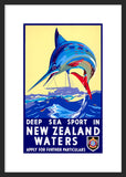 Deep Sea Sport in New Zealand Waters framed poster