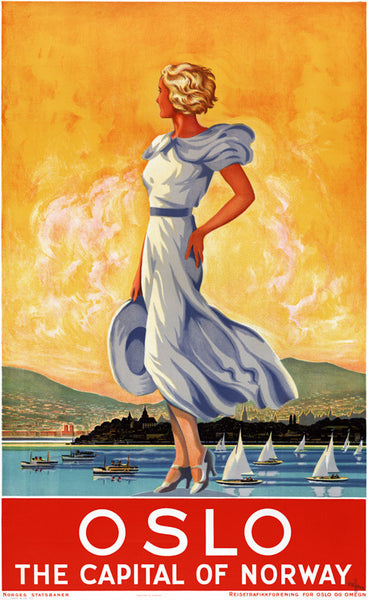 Oslo: The Capital of Norway Vintage Travel Poster