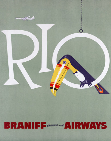Rio and Toucan Vintage Travel Poster
