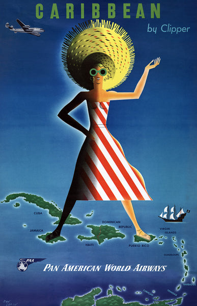 Caribbean by Clipper Vintage Travel Poster