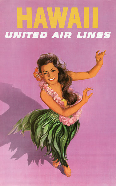 Hawaii Hula Dancer Vintage Travel Poster