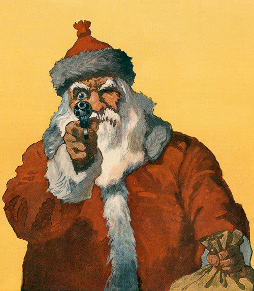 Here Guns Santa Claus on 1950s postcards