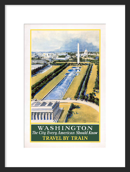 Washington: Travel by Train Vintage Travel Poster