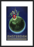 Amsterdam travel poster framed