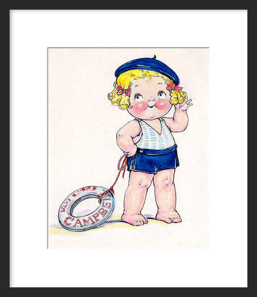 Campbell Kid with a life preserver framed print