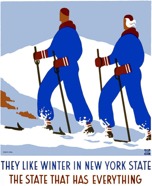 They Like Winter in New York State Vintage Travel Poster