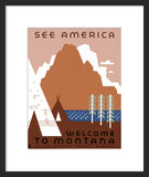 See America Welcome to Montana framed poster