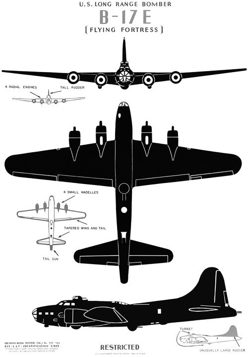 "U.S. Long Range Bomber B-17E ""The Flying Fortress"""