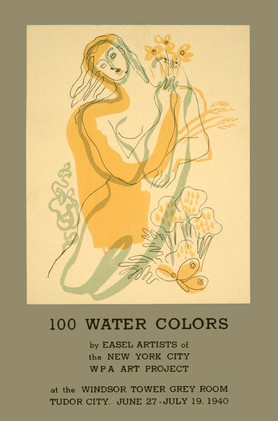 100 Water Colors WPA poster