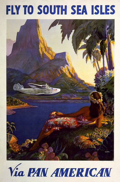 Fly to South Sea Isles via Pan American - Vintage Travel Poster