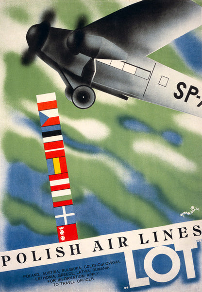 LOT Polish Air Lines Vintage Travel Poster