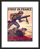 First in France: U.S. Marines framed poster
