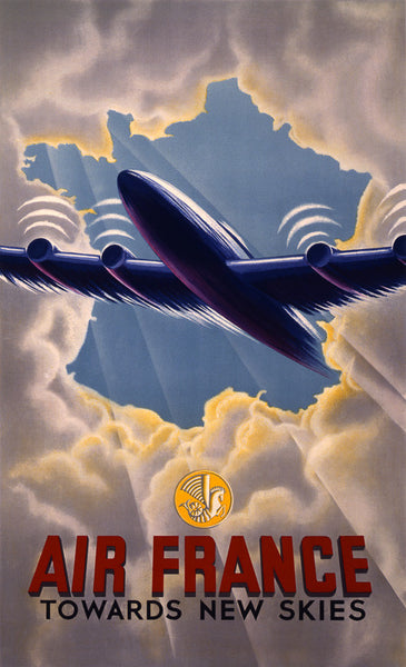 Air France Towards New Skies Vintage Travel Poster