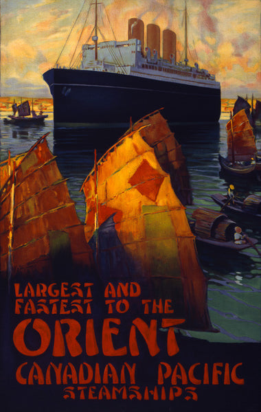 Largest and Fastest to the Orient Vintage Travel Poster