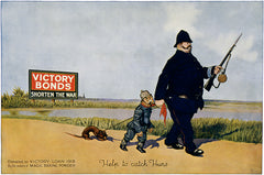 Help to catch Huns. Victory Bonds shorten the war. WWI poster.