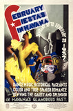 February Fiestas in Havana Vintage Travel Poster