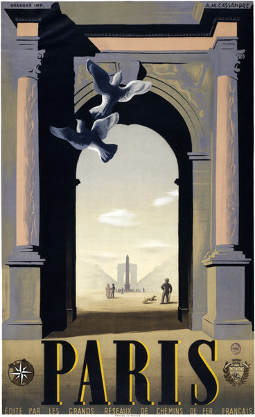 Paris: Place de la Concorde and the Arc de Triomphe Vintage Travel Poster