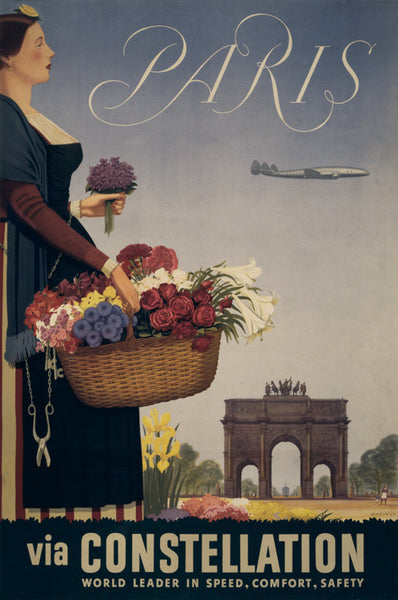 Paris via Constellation Vintage Travel Poster