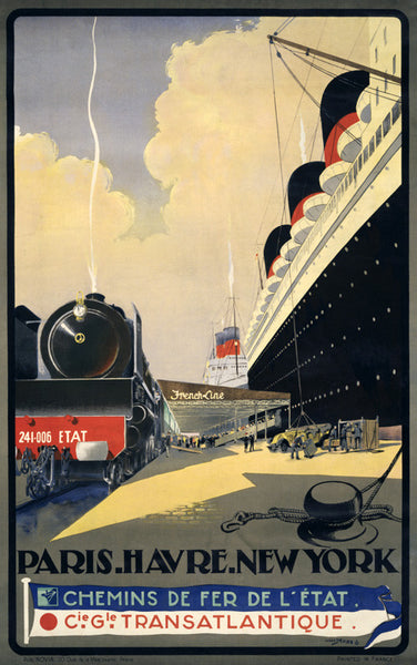 Paris. Havre. New York. Vintage Travel Poster