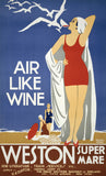 Air Like Wine: Weston-super-Mare Vintage Travel Poster
