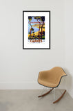 Cannes travel poster framed in room