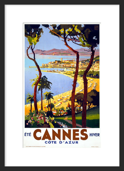 Cannes travel poster framed