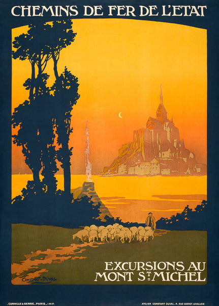 Mont Saint-Michel Vintage Travel Poster