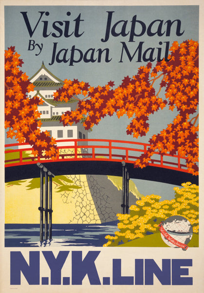 Visit Japan by Japan Mail Vintage Travel Poster
