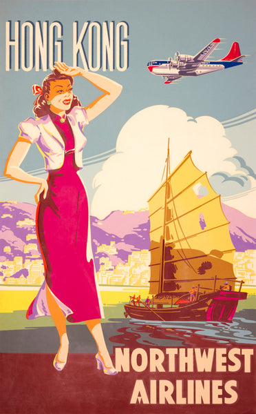Hong Kong Northwest Airlines Vintage Travel Poster