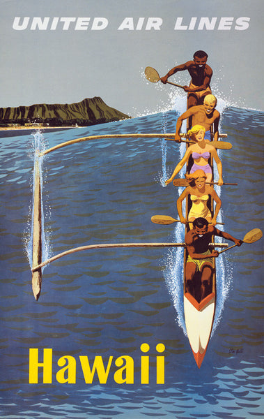 Hawaii Outrigger Canoe Vintage Travel Poster